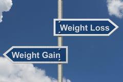 Perda de peso contra o ganho de peso Imagens de Stock Royalty Free