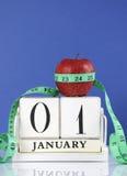 Perda de peso saudável do emagrecimento do ano novo feliz ou definição da boa saúde Foto de Stock Royalty Free