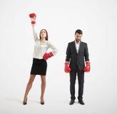 Perdant d'homme d'affaires et femme d'affaires de gagnant Photo libre de droits