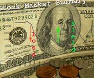 Perdas e rendimentos do mercado de valores de acção Fotografia de Stock
