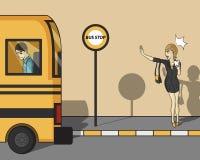 Perdendo o ônibus Fotos de Stock