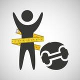 Perdez l'icône de dummbell de concept de poids Photographie stock libre de droits