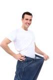 Perdita di peso dell'uomo Immagini Stock