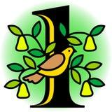 Perdiz em uma árvore de pera/eps Fotos de Stock Royalty Free