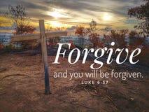 Perdone del dise?o del verso de la biblia para el cristianismo imagen de archivo