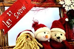 Pere圣诞节、雪人和女用连杉衬裤 免版税库存照片