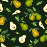 Pere con le foglie su backgrond verde scuro Fotografia Stock