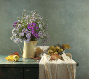 Pere e butter-weed Immagini Stock