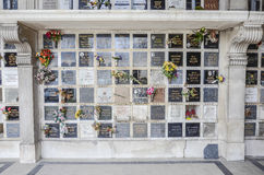 Pere Lachaise Cemetery columbarium. In Paris, France Royalty Free Stock Photography