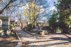 Pere-Lachaise cemetery confusing roads Royalty Free Stock Photos