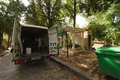 Pere Lachaise Cemetery. PARIS, FRANCE - SEPTEMBER 08, 2014: View of Pere Lachaise Cemetery. Pere Lachaise Cemetery is the largest cemetery in the city of Paris Stock Photography