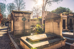 Pere-Lachaise cemetery tombs Stock Photo
