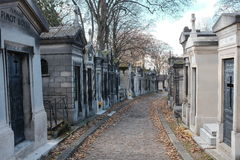 Pere Lachaise Cemetery. A view of the crypts and burial sites within Pere Lachaise Cemetery, in Paris, France, where Oscar Wilde, Edith Piaf and Jim Morrison are Royalty Free Stock Images