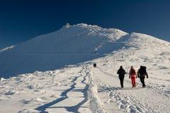 Peregrinaje de las montañas del invierno Imagen de archivo libre de regalías