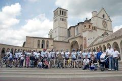 Peregrinaje del ciclo a Assisi Imagen de archivo libre de regalías