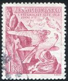 Peregrine Falcon. CZECHOSLOVAKIA - CIRCA 1938: stamp printed by Czechoslovakia, shows Peregrine Falcon Sokol Emblem, circa 1938 royalty free stock images