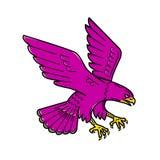 Peregrine Falcon Swoop Mono Line ilustración del vector