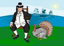 Peregrino com peru e navios ilustração royalty free
