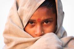 Peregrino hindu devoto em Maheshwar, Índia Fotos de Stock