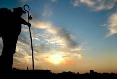 Peregrino na maneira de Xacobeo ao Santiago, Galiza, Espanha Fotos de Stock