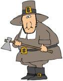 Peregrino que sostiene un hacha stock de ilustración