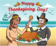 Peregrino y un nativo americano con un pavo de la carne asada ilustración del vector