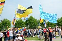 Peregrinos con las banderas, día de juventud de mundo 2016 imagen de archivo libre de regalías