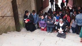 Peregrinos em Rocamadour, França imagens de stock