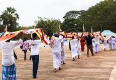 Peregrinos en Anuradhapura, Sri Lanka Fotos de archivo