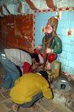 Peregrinos en el templo de Patalpuri Foto de archivo