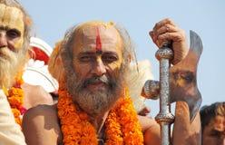 Peregrinos hindúes en el festival religioso de Maha Kumbh Mela Hindu Fotografía de archivo libre de regalías