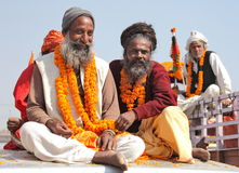 Peregrinos hindúes en el festival religioso de Maha Kumbh Mela Hindu Imagen de archivo