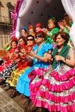 Peregrinos - mujeres de la manera del EL Rocio Foto de archivo libre de regalías