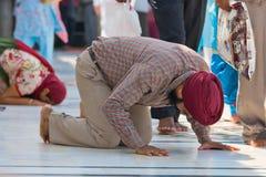 Peregrinos sikh en el templo de oro. Amritsar, Punjab, la India. Foto de archivo