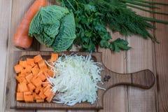 Perejil del eneldo de las cebollas de las zanahorias de la col de las verduras Verduras frescas en un vector de madera imagen de archivo libre de regalías