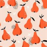 Peren en bladeren, kleurrijke achtergrond Naadloos patroon met vruchten stock illustratie