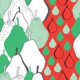 Peren partij-Fruit naadloze de Verrukking herhaalt Patroonillustratie Achtergrond in Groene Rode Zwart-wit royalty-vrije illustratie