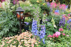 Perennial  garden flower bed in spring. At flower show Stock Photography