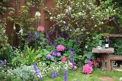 Perennial  garden flower bed in spring Stock Photo