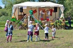 Pereslavl-Zalessky, Russia, July, 13, 2013. Children take part in folk amusements on the city Day in Pereslavl Zalesskiy Royalty Free Stock Photography