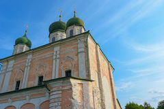 Pereslavl-Zalessky, Russia, September 2, 2018: The Cathedral of the Dormition Uspensky Cathedral on the background of the sky stock photo