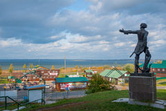 Pereslavl Zalessky, Yaroslavl Region, Russia – September 29, 2014: Monument to Peter the Great on background of Pleshcheeva Lake Royalty Free Stock Image