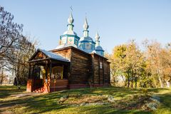 An old wooden churches in Pereyaslav Khmelnitskiy, Ukraine. Pereyaslav-Khmelnitsky, Ukraine - OCTOBER 31 2015: An old wooden churches in Pereyaslav Khmelnitskiy royalty free stock image