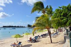 Pereybere strand, Mauritius Arkivbilder