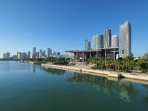 Perez Art Museum and the City of Miami, Florida. Miami, Florida 11-10-2018 The Perez Art Museum and the City of Miami skyline reflected on a calm Biscayne Bay stock photography