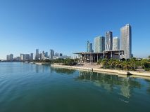 Perez Art Museum and the City of Miami, Florida. Miami, Florida 11-10-2018 The Perez Art Museum and the City of Miami skyline reflected on a calm Biscayne Bay stock image