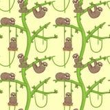 Pereza inconsútil en el árbol patern Stock de ilustración