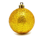 Perfec yellow christmas ball isolated Stock Photo