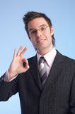 Perfect. Businessman giving the OK sign Stock Photography
