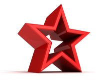 Perfect abstract red star on white background Royalty Free Stock Image